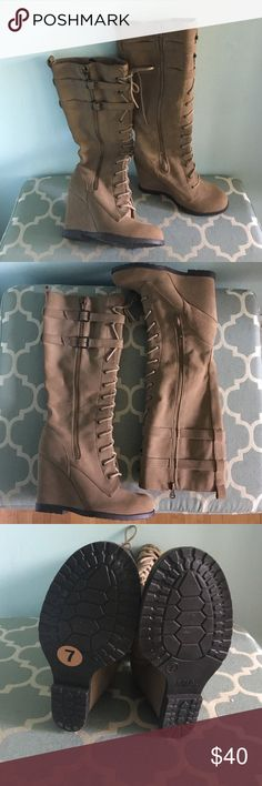 Knee high lace up wedge boots Beautiful and NWOB boots. Zips up on the side and laces up the front. True to size. About a 3 inch wedge heel. Mia Shoes Heeled Boots