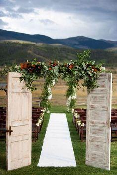 mountainside outdoor wedding entrance ideas