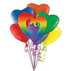 Giant Rainbow Open Heart Balloon Kit 7pc | Party City