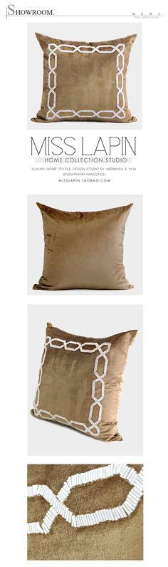 MISS LAPIN新古典/样板房沙发靠包抱枕/金色边框立体手工绣珠方枕-淘宝网