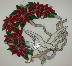Pointsettas and Dove Wreath