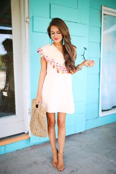 """Piper Java dress , also in blue here and here // straw bag // Steve Madden """"Carrson"""" sandals turquoise earrings , almost exa..."""