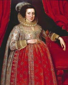 Marcus Gheeraerts the Younger. Woman in Red, 1620.    In Wikipedia