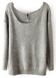 Grey Pullovers Sweater