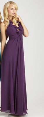 Bridesmaid dress~Allure Eggplant Chiffon Ruffled Halter Empire Waist
