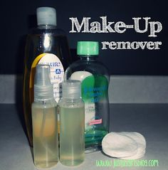 Makeup remover   Ingredients:  1 Cup of Water ; 1 1/2 TBSP Baby Shampoo (Tear Free);  1/8 TSP Baby Oil (Coconut or Olive Oil).    Directions:  Combine all the ingredients together in a bowl.  Stir until mixed.  Pour into plastic bottle or airlock jar.