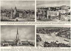 LONDON/TOWNS: Views of Old London accurately modelled from Contemporary plans and Panoramas; Vintage photographic book illustration, 1926; approximate size 17.0 x 23.5cm, 6.75 x 9.25 inches