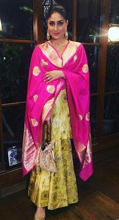 FashionVibes Custom Salwar suit and Lehenga Kareena Banarasi Sharara Suit Indian Fashion Dresses, Indian Designer Outfits, Pakistani Dresses, Indian Outfits, Indian Clothes, Indian Sarees, Indian Attire, Pakistani Bridal, India Fashion