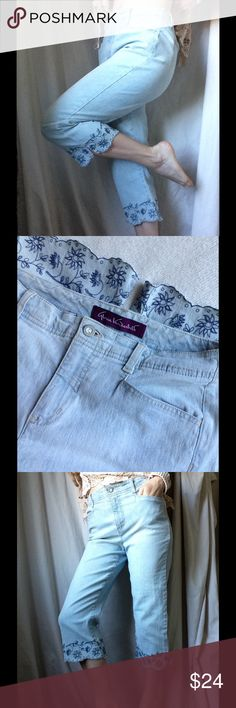 """Gloria Vanderbilt Flower Power Embroidered Capris Hello hippie mom! It is time to garden in these comfy babies. Good condition. No stains rips or holes. Come from a smoke free home. Scalloped hem. Fairy vine embroidery. Made in Sri Lanka. The fabric is 81% cotton 18% polyester 1% spandex. Suit style back pockets. High waisted mom jeans. Summer picnic style. Measurements laying flat: waist: 13.5"""" (can stretch to 14) front rise: 10"""" inseam: 19"""" beach vacation resort wear Gloria Vanderbilt…"""
