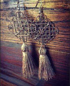 Boho tassel earrings gold tassel earrings by GypsyGiraffeCreation