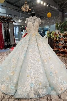 We are professional online store for handmade custom made wedding dresses and special occasion dresses. Shop 2020 prom dresses and wedding dresses with affordable price here! Blue Ball Gowns, Ball Dresses, Prom Dresses, Elegant Dresses, Pretty Dresses, Wedding Dresses With Flowers, Luxury Wedding Dress, Light Blue Wedding Dress, Quince Dresses