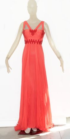 Versace Coral Chiffon gown with Beading   From a collection of rare vintage evening dresses at https://www.1stdibs.com/fashion/clothing/evening-dresses/