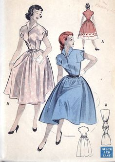'Love the figure flattering cut and skirt fullness of these elegant 1950s day wear dresses.'