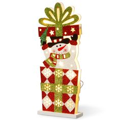 """National Tree MZC-1309 17"""" Wood-Look Double Sided Snowman in Giftbox with 10 Warm White Battery Operated LED Lights"""