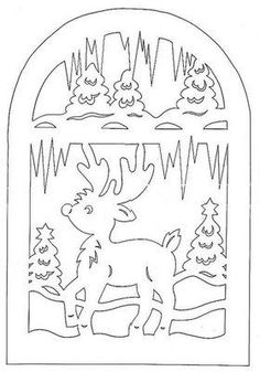 scroll saw deer Christmas Stencils, Christmas Paper Crafts, Christmas Templates, Holiday Crafts, Christmas Decorations, Kirigami, Paper Cutting, Scroll Pattern, Christmas Coloring Pages