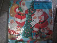 Vintage TIE TIE Xmas Gift Wrap Santa Claus and Big Eyed Doll Kitschy 5 sq ft