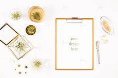 Styled clipboard with desk accessory and air plants white White Desks, Clipboard, Negative Space, Desk Accessories, Air Plants, Mockup, Gallery Wall, Branding, Social Media