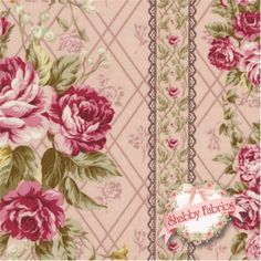 Kilala Antique Roses QKY201205-15A by QH Textiles: Kilala Antique Roses is a floral collection by QH Textiles. 100% cotton. This fabric features floral stripes on a pink background.