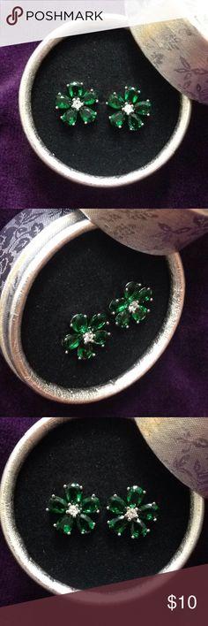 emerald flower earrings 18k white gold filled flower stud emerald earrings.fashion jewelry Jewelry Earrings