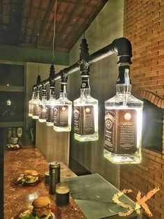 Lustre Industrial de garrafas Jack Daniel's Mais for his man cave
