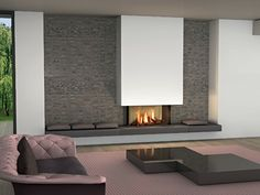 Home Interior Salas modern fireplace on the wall - Modern fireplaces for stunning indoor and outdoor spaces.Home Interior Salas modern fireplace on the wall - Modern fireplaces for stunning indoor and outdoor spaces Modern Fireplace Decor, Cozy Fireplace, Living Room With Fireplace, Fireplace Surrounds, Fireplace Design, Living Room Decor, Fireplace Mantels, Modern Fireplaces, Fireplace Ideas