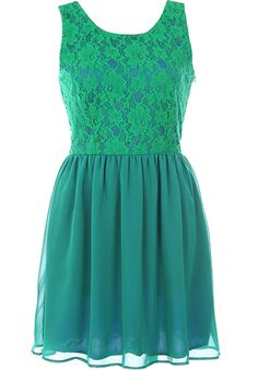 Emerald Flirtation Dress: Features a stunning lace bodice with contrast shell for pop, flattering rear V-design with adorable ribbon-tie closure, easy elastic waist for a custom fit, and a beautifully gathered chiffon skirt to finish.