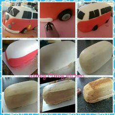 Mini bus VW step by step - Emilie Jacquier-Tremblet - Camper Van Cake, Camper Cakes, Bus Cake, Truck Cakes, Fondant Cakes, Cupcake Cakes, Hippie Cake, Gateau Baby Shower, Cake Decorating Tutorials