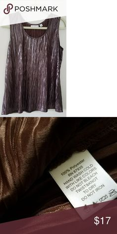 Sleeveless top Wrinkled shiny and brown Very lightweight. Can be worn alone or layered. Susan Graver Tops Blouses