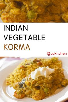 Korma is a non-spicy but very flavorful slow cooked dish. This version contains green beans, cauliflower, and tomatoes cooked in a creamy sauce that is served over rice. The cooking sauce can be found in grocery stores with a large ethnic section, or online. | CDKitchen.com