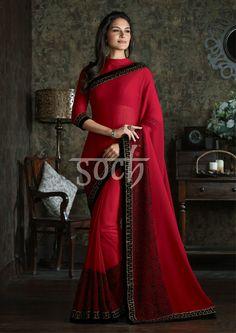 Look ravishing in red Drapeyourstyle Soch DesiNess Pinterest