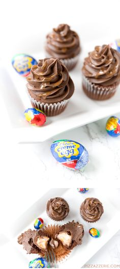 Cadbury Egg Chocolate Easter Cupcakes | Pizzazzerie.com