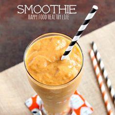 Pumpkin Pie Smoothie Recipe Beverages with water, pumpkin purée, bananas, vanilla protein, pumpkin pie spice, light coconut milk, vanilla extract, ice