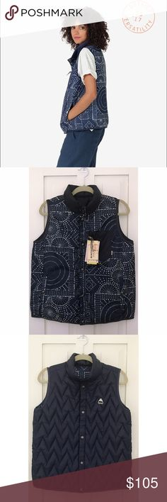 Burton NWT Reversible Down Vest Women's Burton Light Insulator Vest has responsibly sourced 600-fill duck down. New with tags. Lightweight loft traps body heat, but crams down small to stuff into backpack/luggage. reversible design gives 2 looks in 1 while DRYRIDE water-repellent performance on both sides repels wet weather. Reversible Style, Lycra® Binding at Armholes & Hem, Center Front Snap Closure, Handwarmer Pockets and Zippered Chest Pocket on Side 2, Classic Fit. Burton Jackets…
