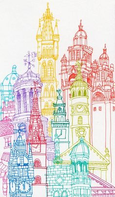 City Towers-Glasgow, Edinburgh  Berlin on the Behance Network- Chetan Kumar- drawing the town using different coloured pens