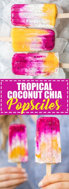 Choosingchia.com| These tropical coconut chia pops are busting with tropical flavour! They're also vegan, gluten-free, and made with all natural ingredients!