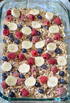Baked oatmeal. Had this at Xmas brunch and was delicious. Ingredients used in the one I ate: oats, cinnamon, vanilla extract, almond milk, egg, blueberries and raspberries. Easy to make variations.