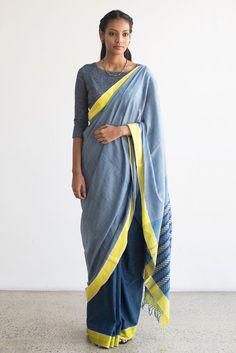 Indigo Silk Saree from FashionMarket.lk