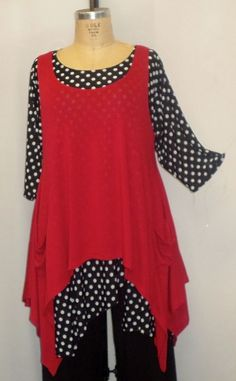 """Coco & Juan Plus Size Lagenlook  High Low Layering Tunic Top Red Knit 3X 4X B60"""" #CocoJuan #Tunictank #anytime"""