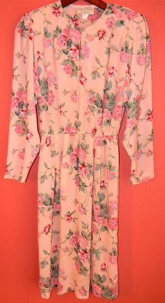 Vintage Dress S M Small Medium 80s Floral by PinkCheetahVintage