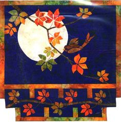 """Autumn Moon ~ 24"""" x 25"""" Japanese / Asian style wall hanging quilt, with maple leaves and sparrow against moon, uses fusible applique & piecing techniques ~ $9.50 pattern   from Shibori Dragon"""