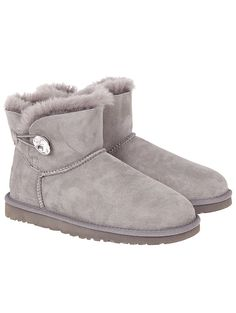 UGG AUSTRALIA Grey Mini Bailey Button Bling Boots