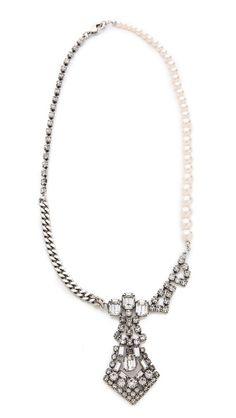 TOM BINNS Regal Pendant Crystal/ Pearl Necklace