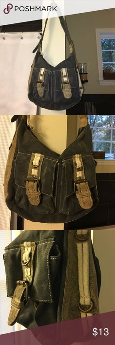 Adorable Aqua Shoulder Bag - Dark Denim 👜👛 Adorable shoulder bag - I got tons of compliments on it - has a tiny spot where leather is coming off but it's not very noticeable. Love this bag!! Aqua Bags Shoulder Bags
