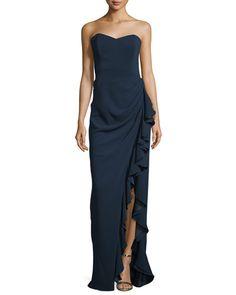 TBTQ6 Badgley Mischka Strapless Gown W/ Ruffled Slit