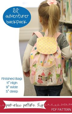How sweet is this Lil' Adventurer Backpack? pattern by Peek-a-Boo Pattern Shop
