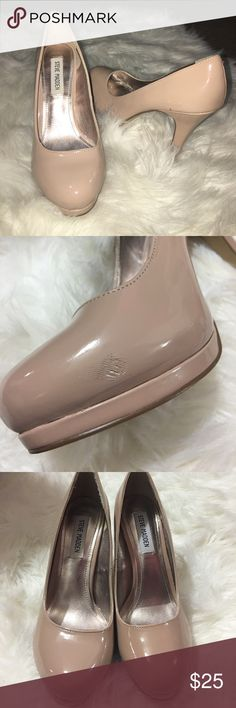 nude steve madden heels small scuff on inside (not noticeable) worn once to prom nude steve madden pumps good condition heels Steve Madden Shoes Heels