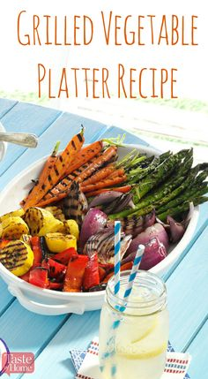 Grilled Vegetable Platter Recipe from Taste of Home Add a boost of color to your picnic table with these quick marinated grilled vegetables Marinated Grilled Vegetables, Grilled Vegetable Recipes, Grilling Recipes, Cooking Recipes, Healthy Grilling, Bbq Vegetables, Vegetarian Grilling, Cooking Bacon, Barbecue Recipes