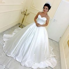 White Satin Bridal Wedding Dresses Ball Gowns With Sweetheart Neckline,JD 157