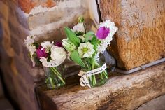 Vintage jars with lace ribbons and cottage flowers @leezpriory