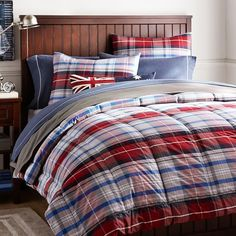 Portsmith Plaid Comforter + Sham, Red | PBteen
